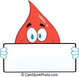 Smiling Red Blood Drop Cartoon Mascot Character Holding A...