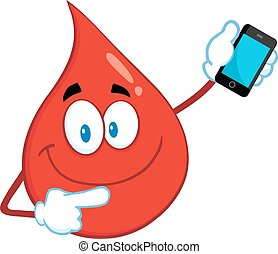 Smiling Red Blood Drop Cartoon Mascot Character Pointing To...