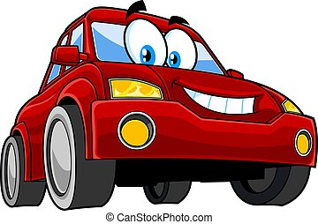 Smiling Red Car Cartoon Character