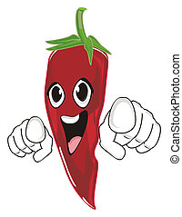red chili pepper - smiling red chili pepper show gesture
