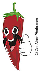 red chili pepper - smiling red chili pepper with mustache...