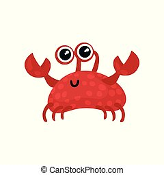 Smiling red crab with small claws and big shiny eyes. Marine life. Sea creature. Flat vector for postcard or mobile game