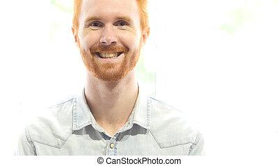 Smiling Red Hair Beard Man Portrait