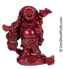 smiling red happy Hotei isolated on white