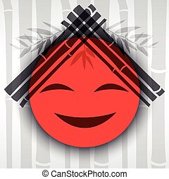 Smiling red sun with bamboo branches.