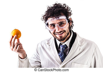 smiling researcher and orange