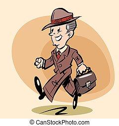 Smiling retro businessman goes to work