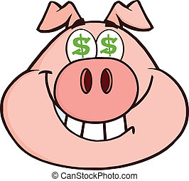 Rich Pig Head With Dollar Eyes - Smiling Rich Pig Head With...