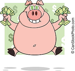 Smiling Rich Pig With Dollar Eyes And Cash Jumping Over Green Illustration Isolated on white