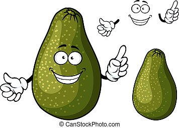 Fresh ripe dark green avocado fruit cartoon character with toothy smile and googly eyes suited for salad, sandwich or guacamole recipe design
