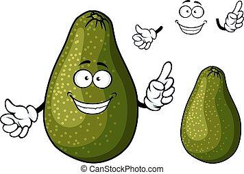 Smiling ripe green avocado fruit character - Fresh ripe dark...