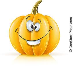 smiling ripe orange pumpkin vector illustration isolated on...