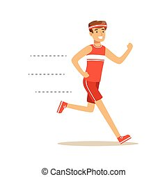Smiling running man character vector Illustration