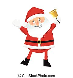 Smiling Santa Claus with bell