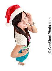 smiling Santa girl in Christmas hat