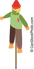 Smiling scarecrow icon, isometric style