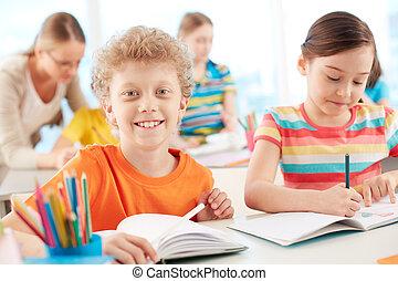 Smiling schoolkid