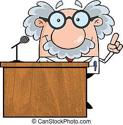 Smiling Scientist Or Professor Present From Podium