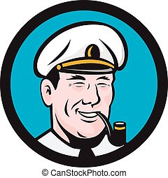 Illustration of a smiling sea captain, shipmaster, skipper, mariner wearing hat cap smoking smoke pipe set inside circle viewed from front done in retro style.