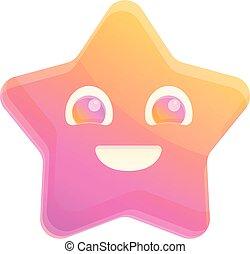Smiling sea star icon, cartoon style