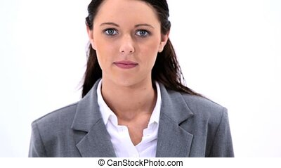 Smiling secretary holding a business card