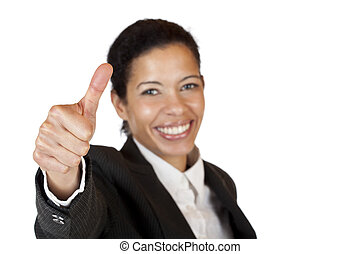 Smiling self confident business woman shows thumb up. ...