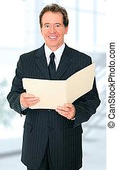 Smiling Senior Business Man Holding Folder