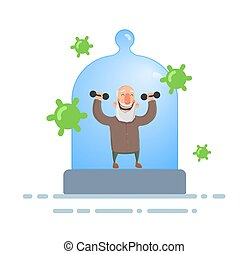 Smiling senior man exercising under the glass dome feeling protected with viruses flying around. Coronavirus prevention, stay indoors, world quarantine concept. Flat vector illustration, isolated.