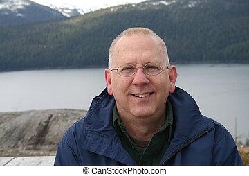 Smiling Senior on Alaska Vacation