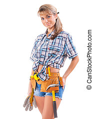 Smiling sexy young female construction worker isolated on white