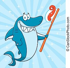 Smiling Shark Holding A Toothbrush