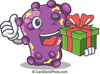 Smiling shigella cartoon character having a green gift box. ...