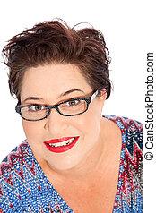 Smiling Short Hair Woman Wearing Eyeglasses