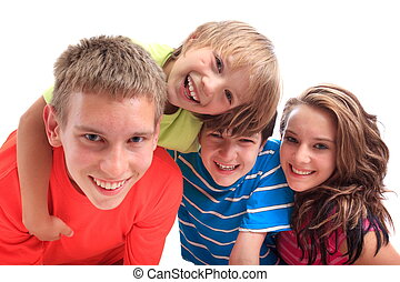 Smiling sister with brothers