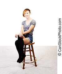 Smiling Skinny Attractive Asian American Woman Sitting