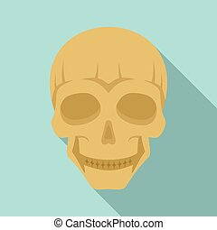 Smiling skull head icon, flat style