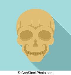 Smiling skull head icon, flat style