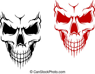 Smiling skull in black and red versions for t-shirt or...
