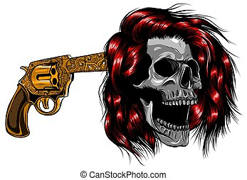 Smiling skull with revolver for tattoo design. vector