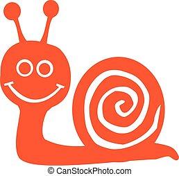 Smiling snail in orange