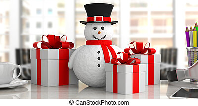 Smiling snowman on desk blurry office background and gifts, banner, 3d illustration.