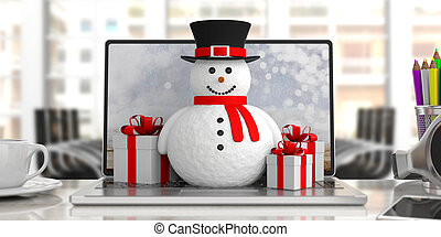 Smiling snowman on laptop blurry office background and gifts, banner, 3d illustration.