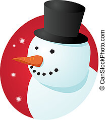 Smiling snowman - Smiling cheery snowman in tophat, winter...