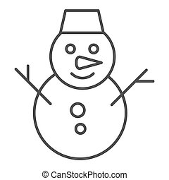 Smiling snowman thin line icon. Snow vector illustration isolated on white. Winter outline style design, designed for web and app. Eps 10.