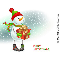 Smiling snowman with Christmas gift - Smiling snowman...
