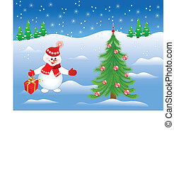smiling snowman with gift invites to the Christmas tree with toys