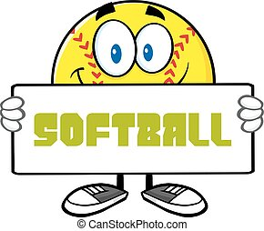 Smiling Softball Holding A Sign