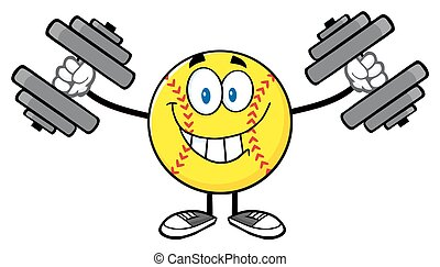 Smiling Softball With Dumbbells