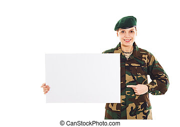 Smiling soldier girl in the military uniform