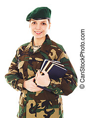 Smiling soldier girl in the military uniform - Smiling...